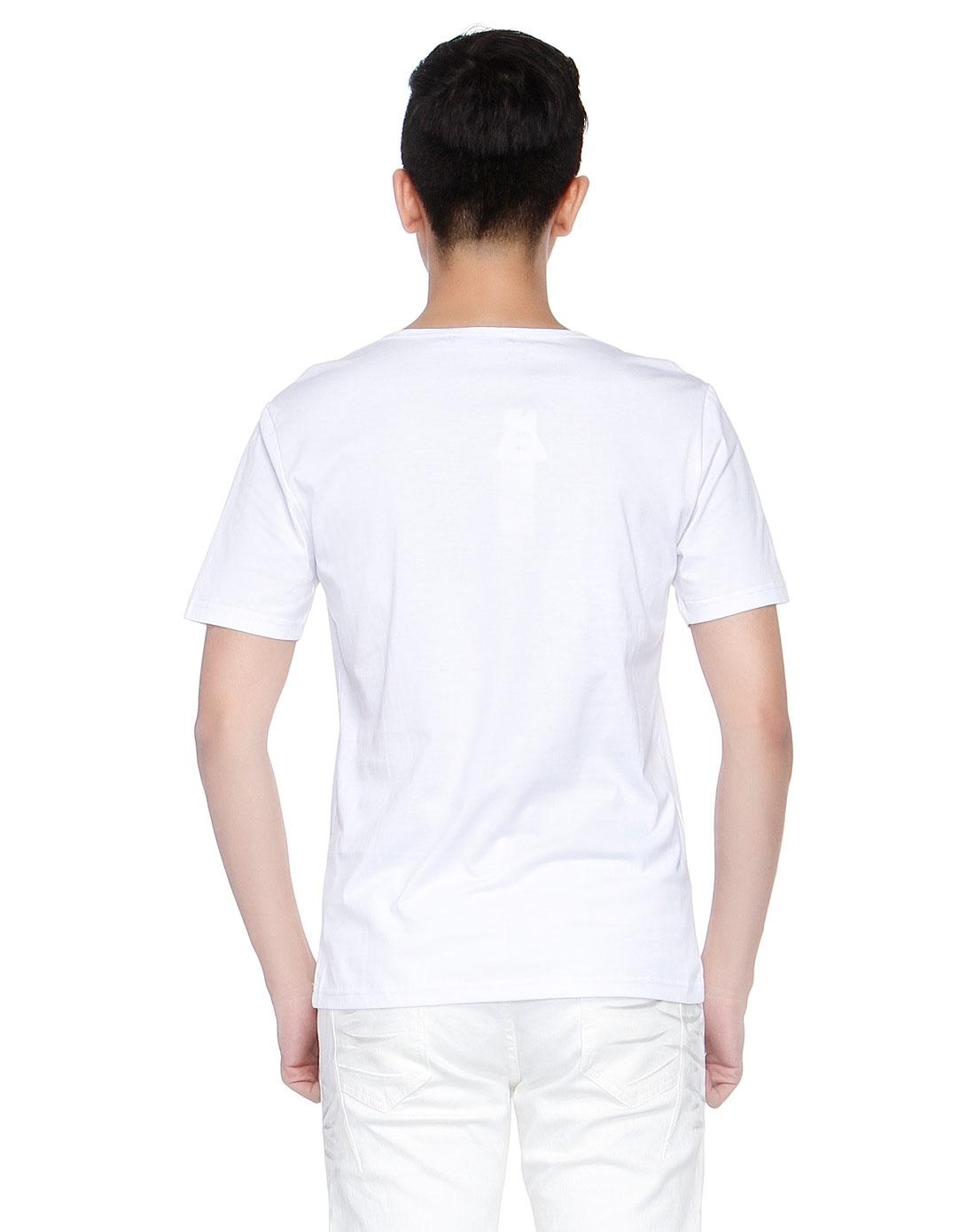 白/多色印图青春短袖t恤图片