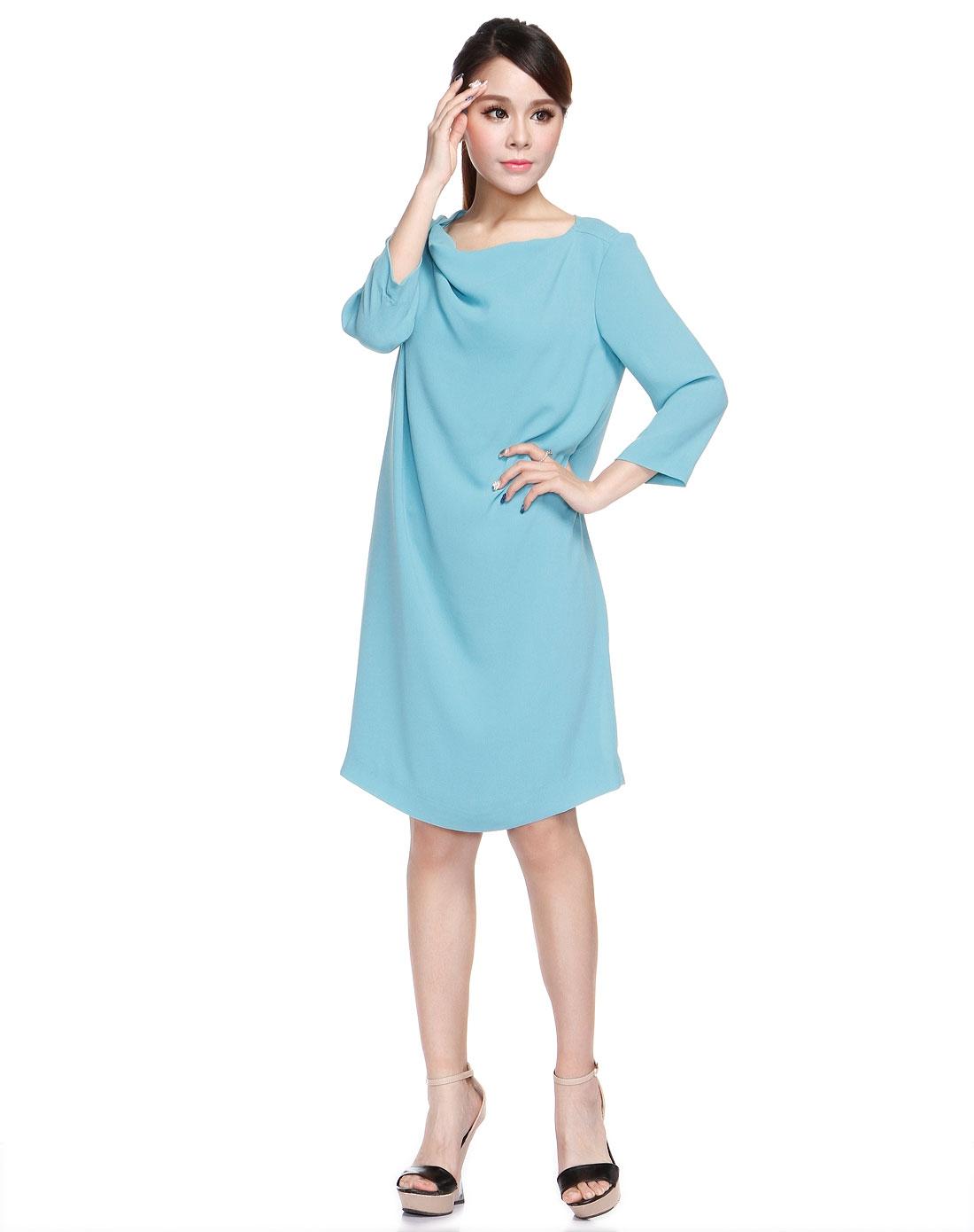 迪叶dyar薄荷蓝色纯色简约中袖连衣裙d01c01d037ba