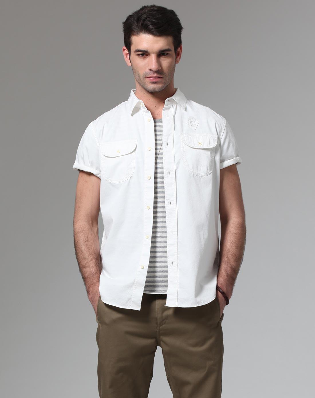 男士白色复古短袖衬衫