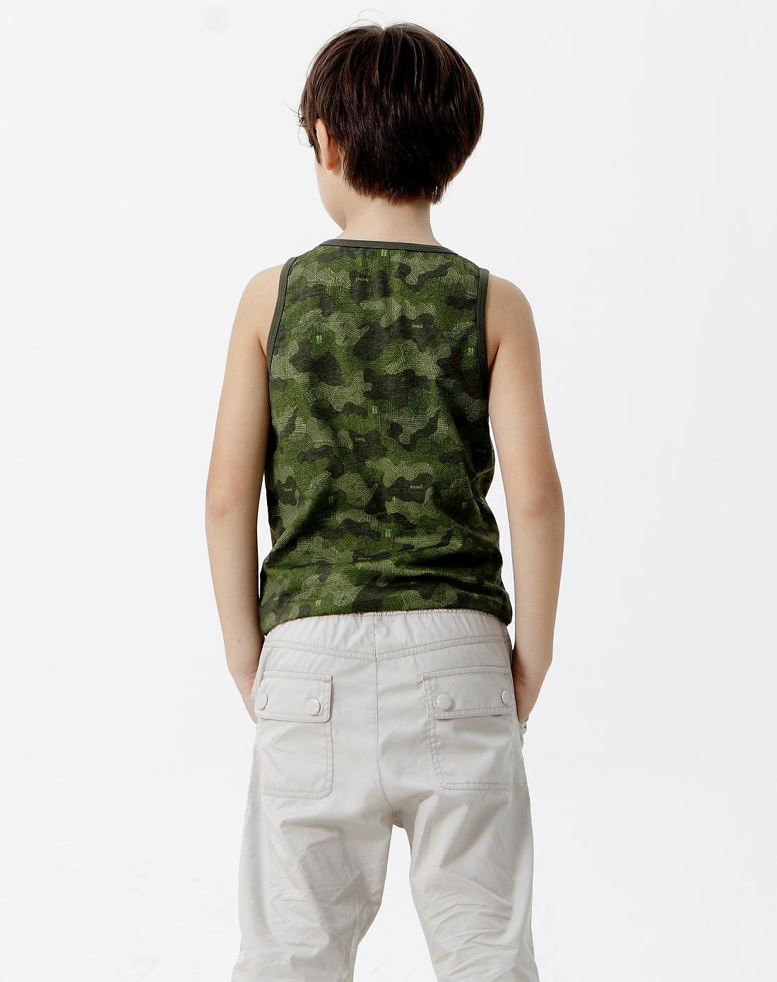 男童绿手绘迷彩花背心