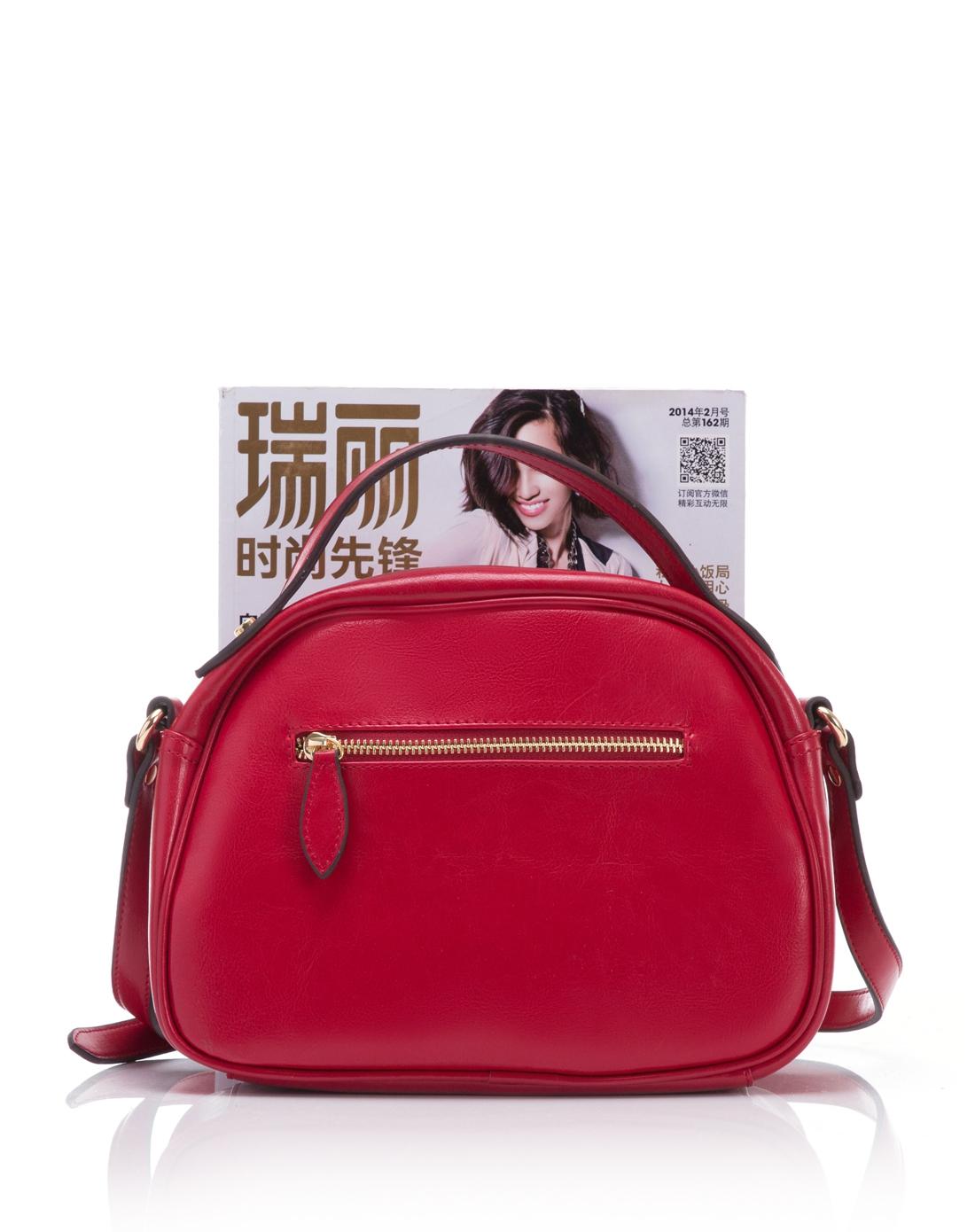 时尚复古半圆形红色手提包