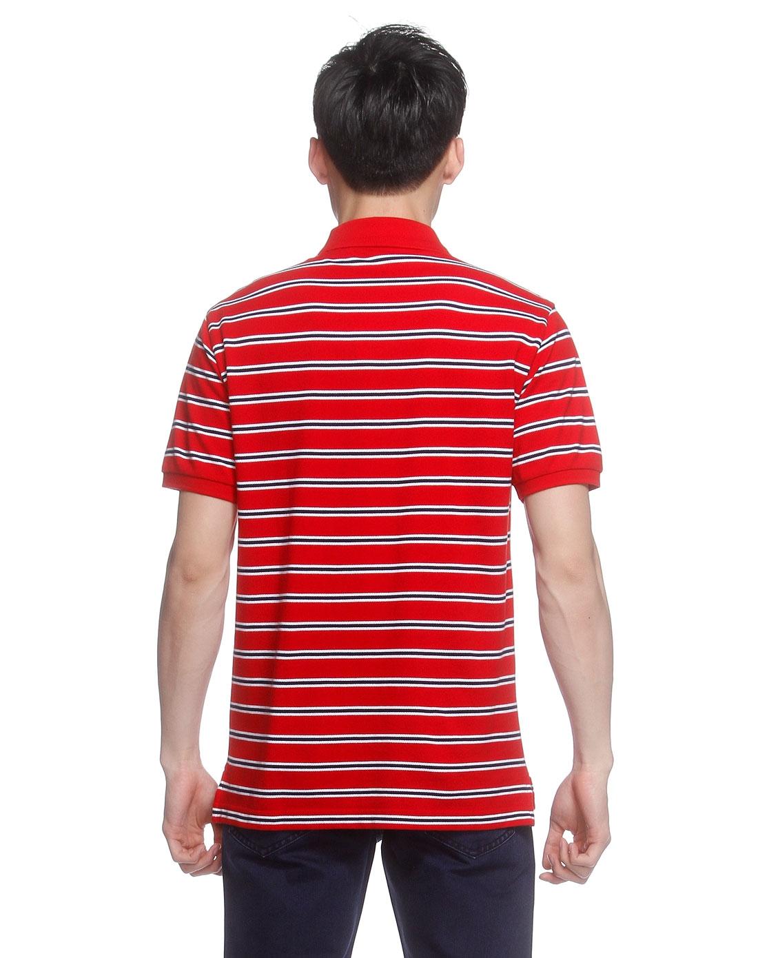 大红色横条休闲短袖t恤
