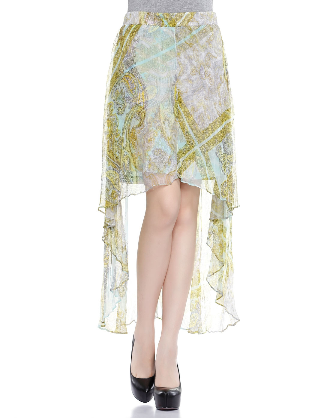 个性裙摆设计浅蓝拼黄绿色半裙