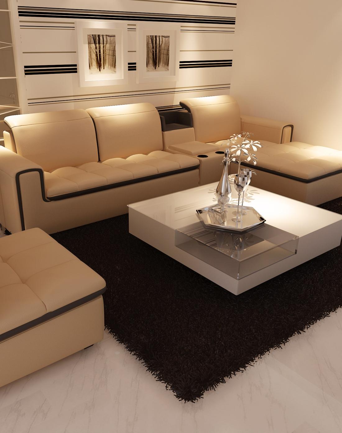 一米爱yimilove家具客厅小户型真皮沙发(2+1+左贵妃)