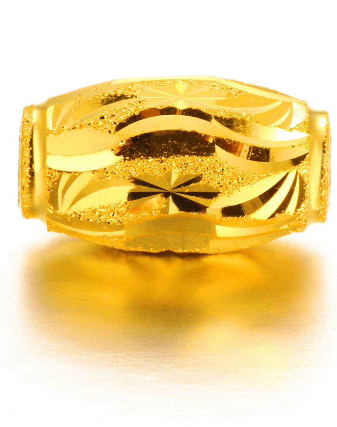 橄榄形朗朗乾坤黄金转运珠