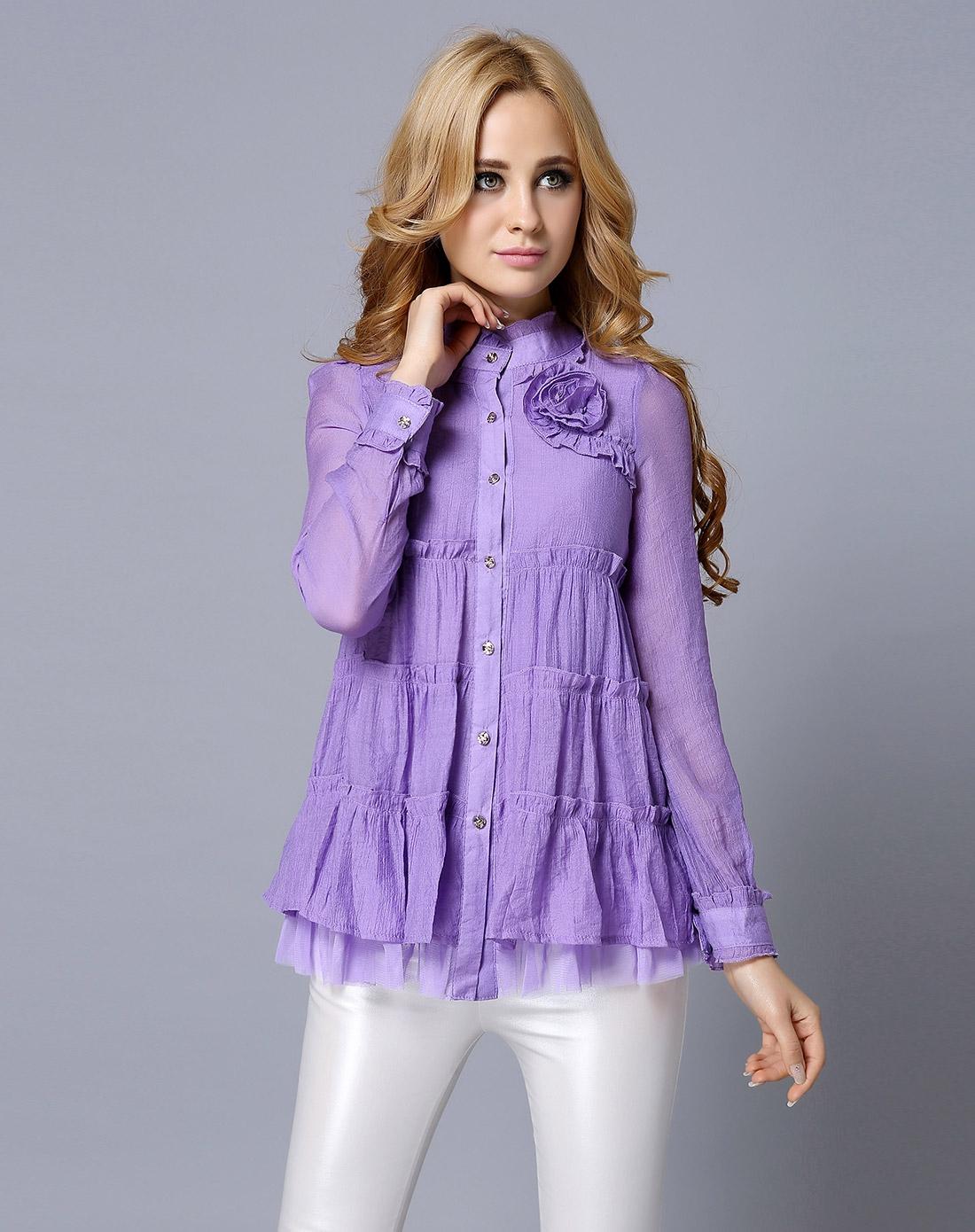 紫色半裙配什么上衣_紫色波浪纹上衣