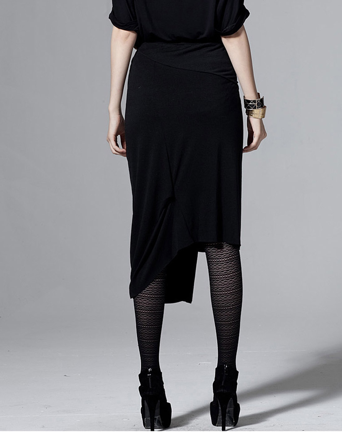 rampage 晨曦包臀结构针织半裙-黑色