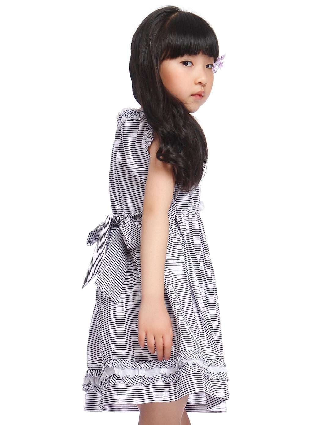 童_女中童蓝白色条纹无袖连衣裙