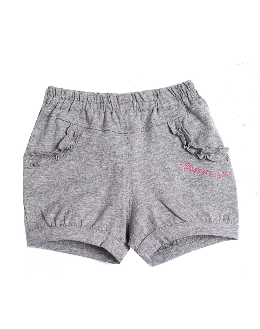 女童麻灰色可爱公主短裤