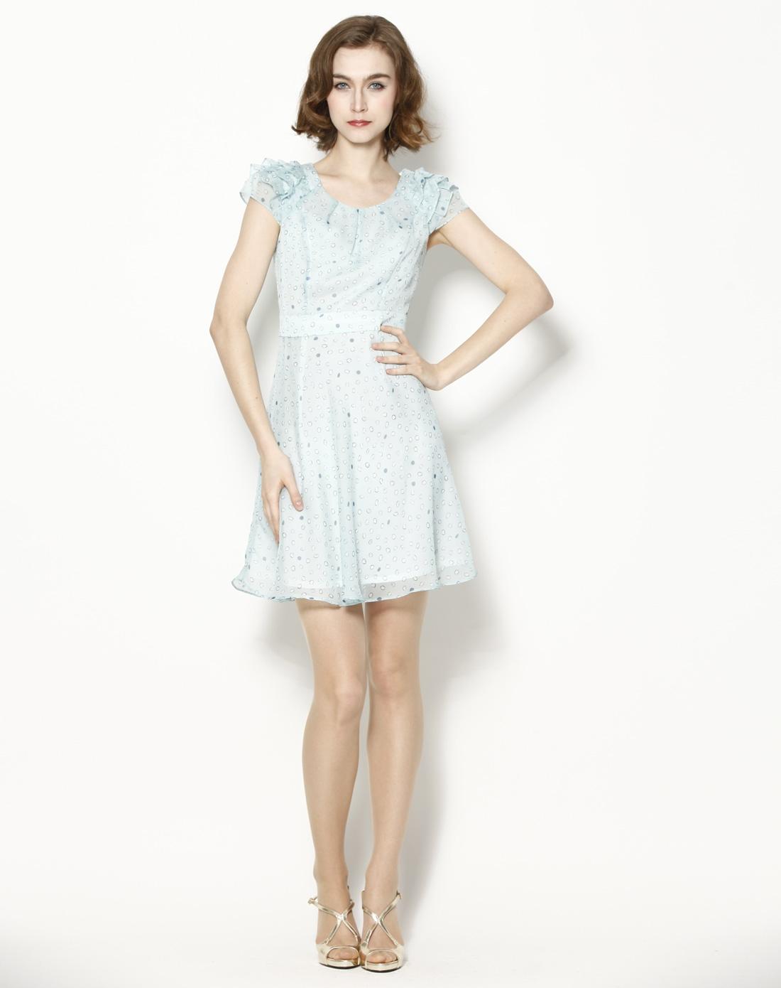 粉蓝色可爱清新印花短袖连衣裙