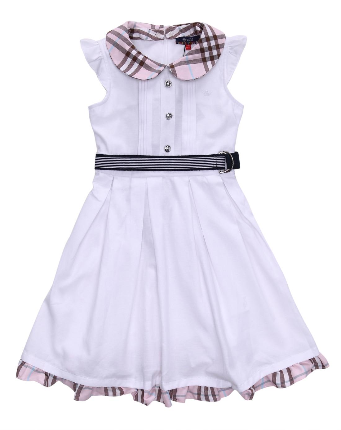 oxford女童本白连身裙
