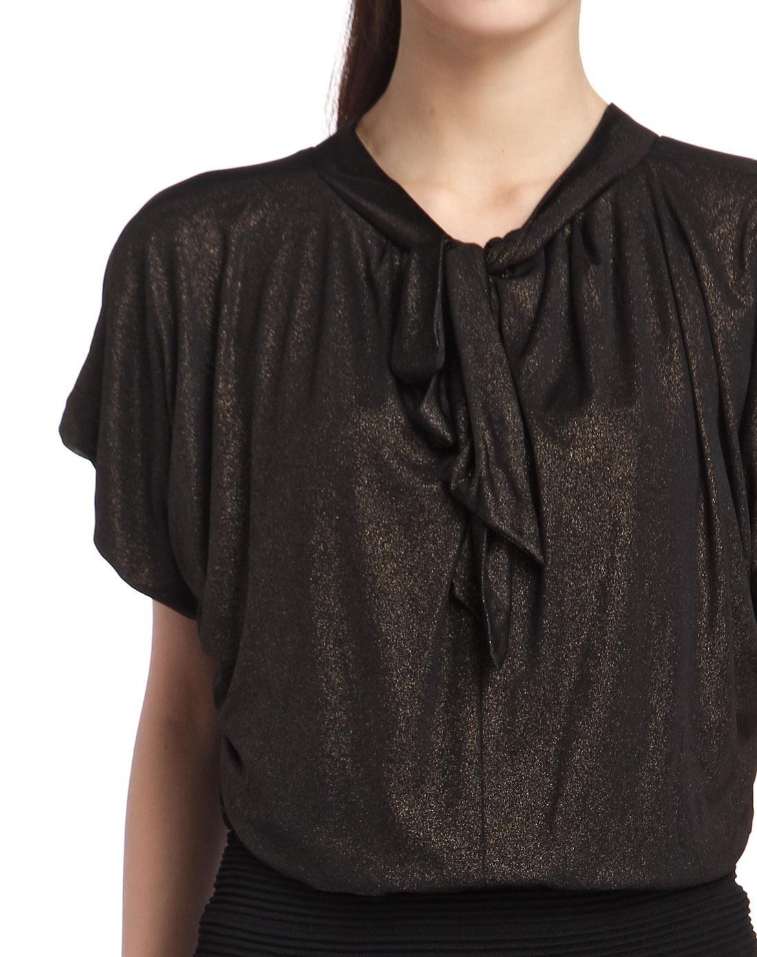 黑色金粉蝙蝠袖拼接连衣裙