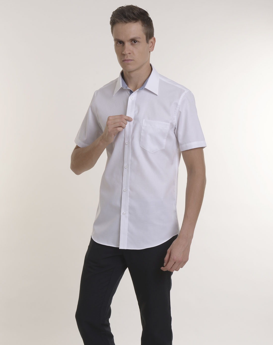 arrow男士纯白色短袖衬衫aw-38132001wh