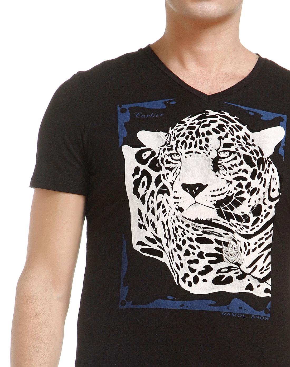 动物头像时尚黑色短袖t恤