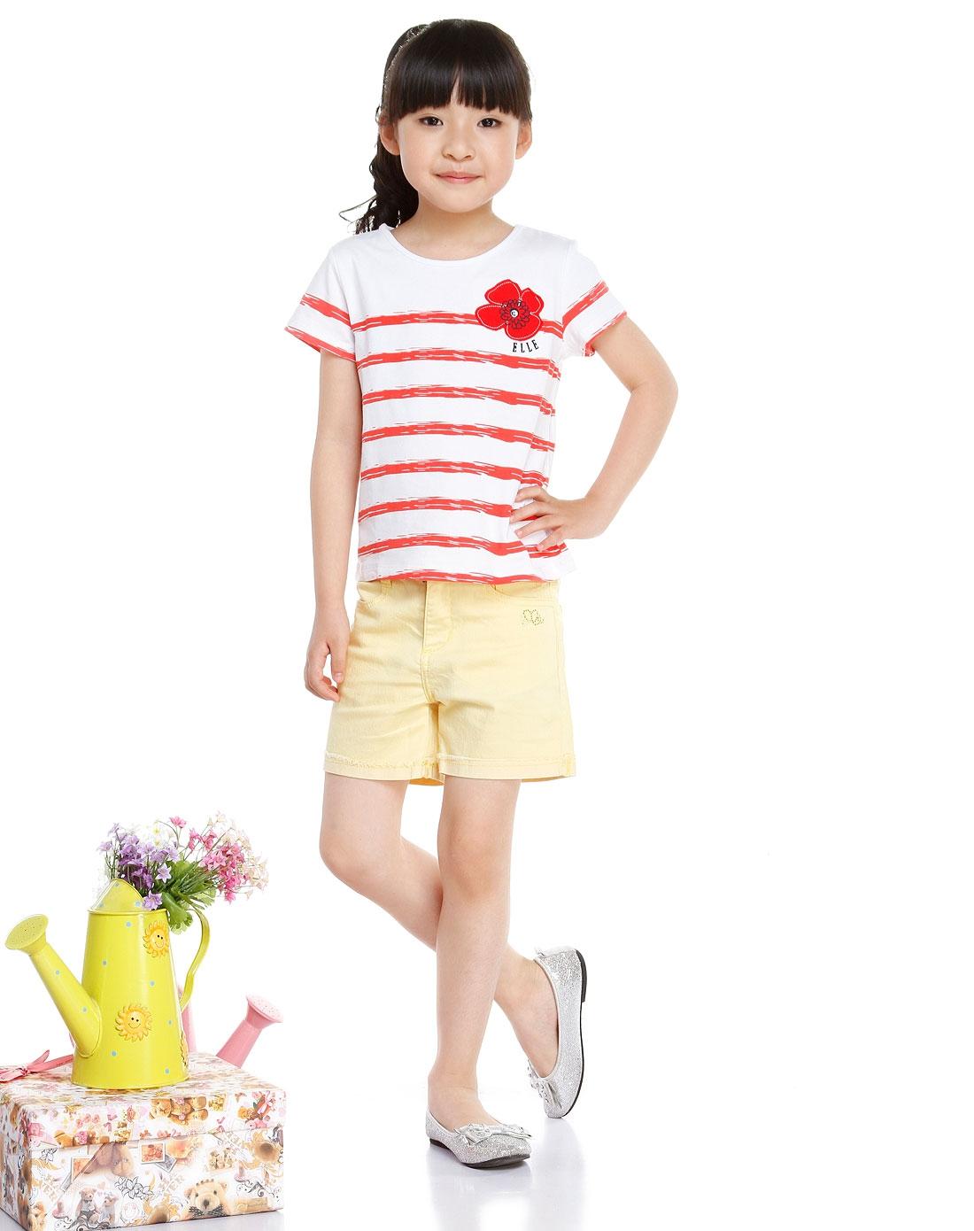 女童手绘间条白底红色针织短袖t恤