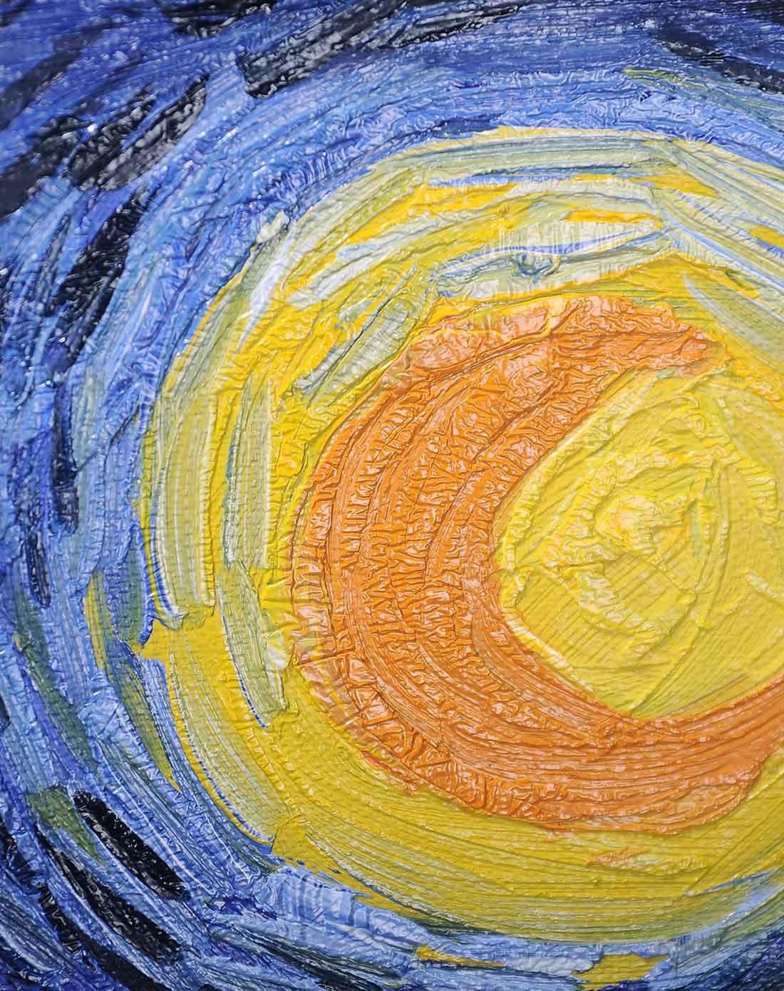 纯手绘油画-梵高星夜