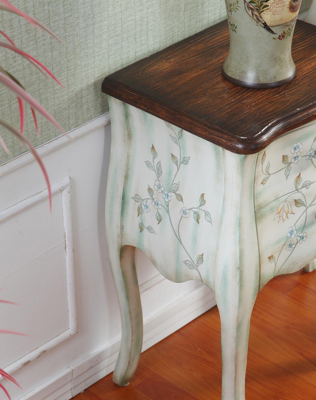 欧式古典手绘床头柜两抽柜