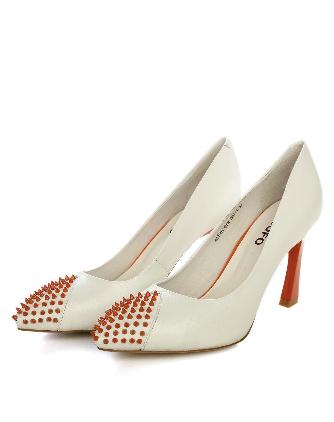 2014新品女款白色羊皮时尚时装单鞋
