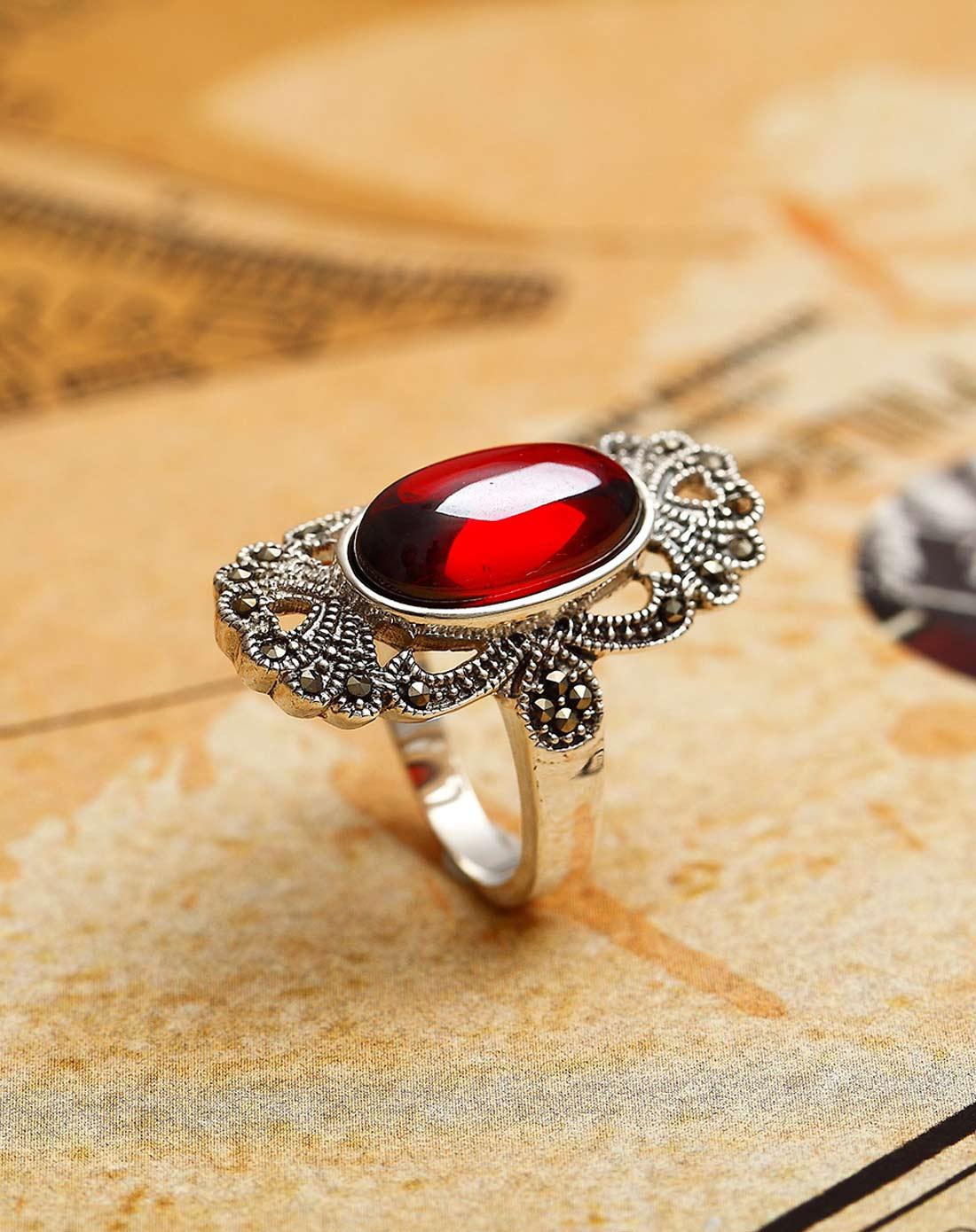 手工泰银复古华丽花纹红刚玉戒指