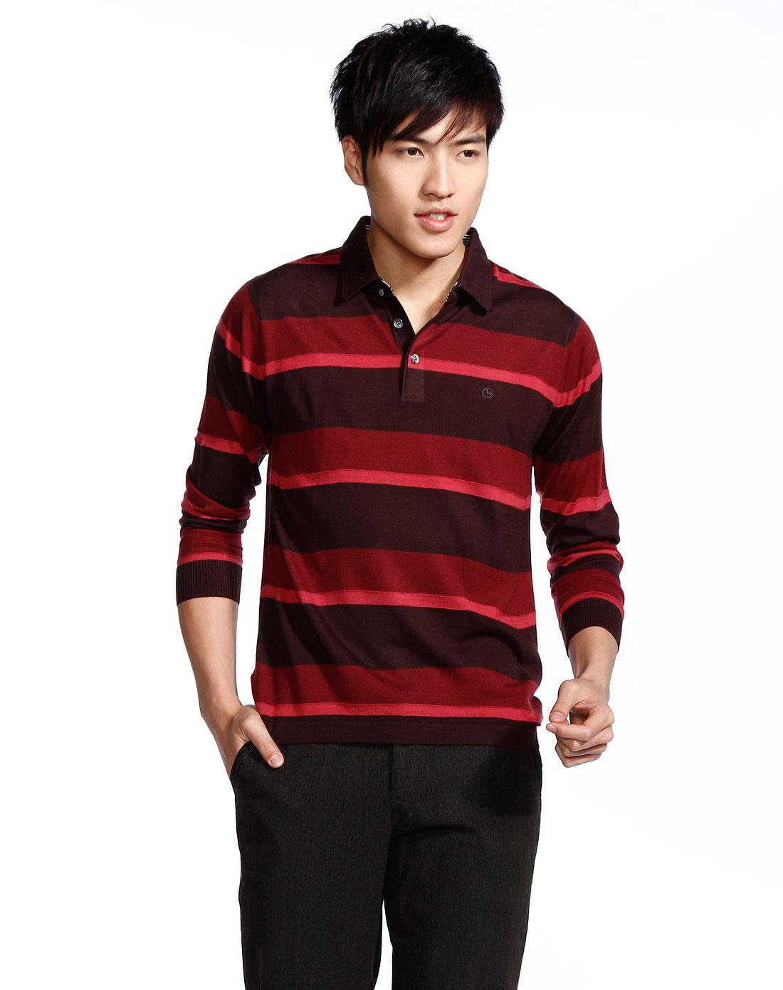 红色混搭长袖羊毛衫