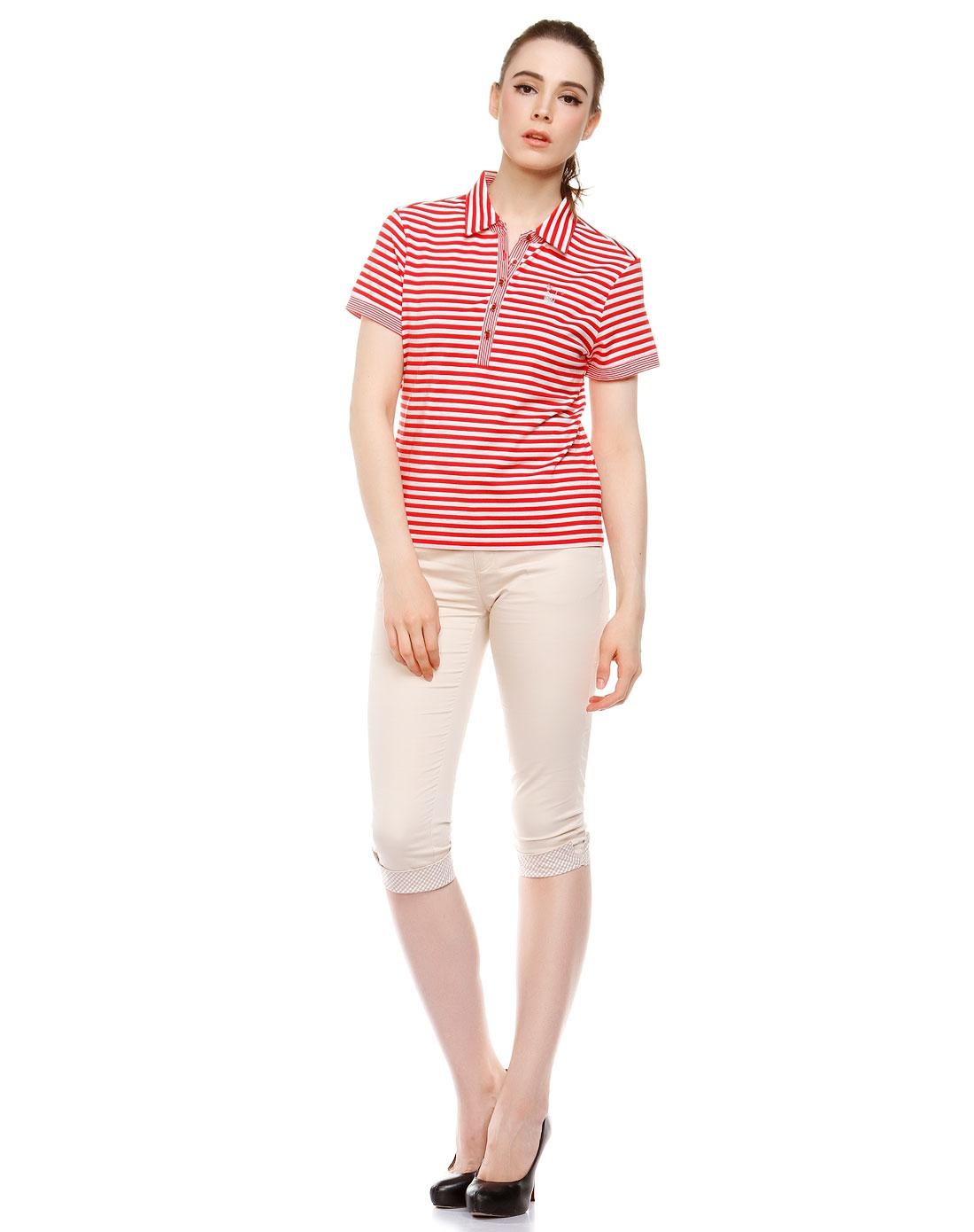 款红配白色短袖polo衫