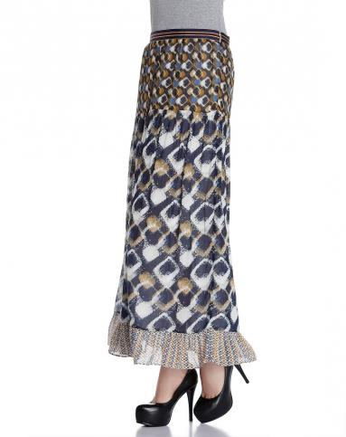 多色花纹时尚长裙