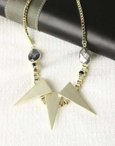 浅金色几何图案吊坠三角形时尚项链