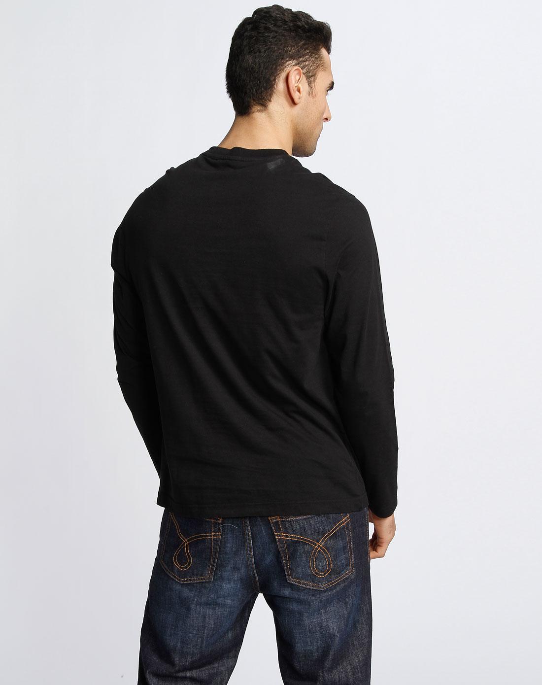 男�ya[�X�~[�Y�X�_ck 男款纯黑色圆领长袖t恤1