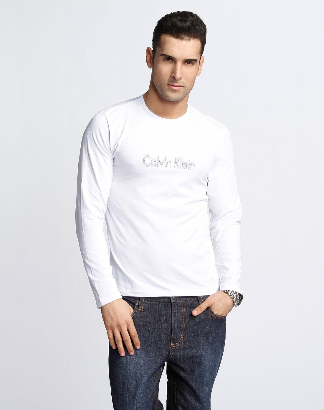 ck 男款白色绣字母圆领长袖t恤
