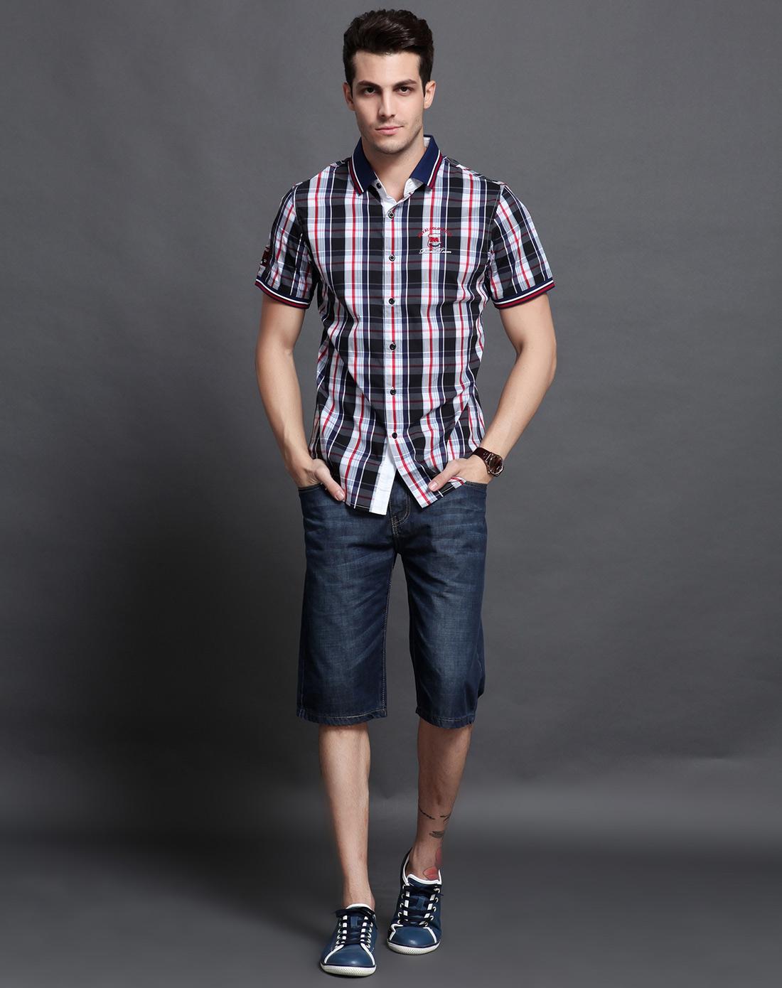 台格taige男款红色短袖休闲衬衣3ta33c13210