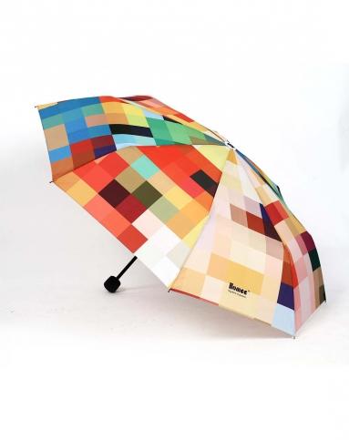 马赛克创意图案三折雨伞