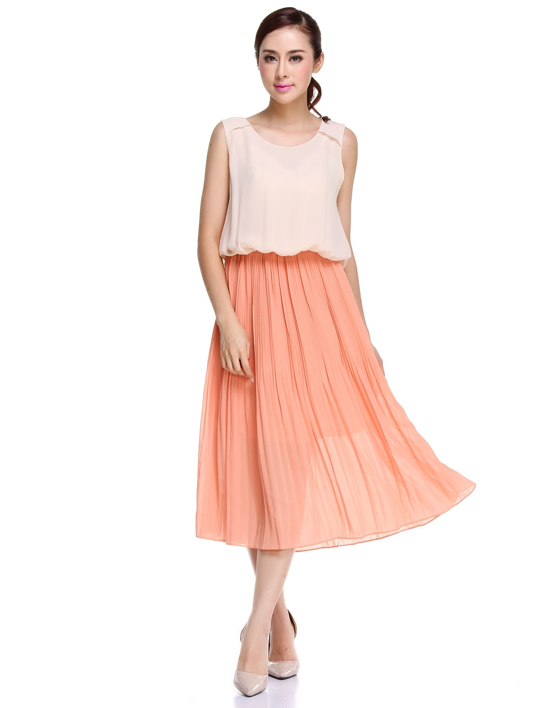淑女经典粉红色无袖连衣裙