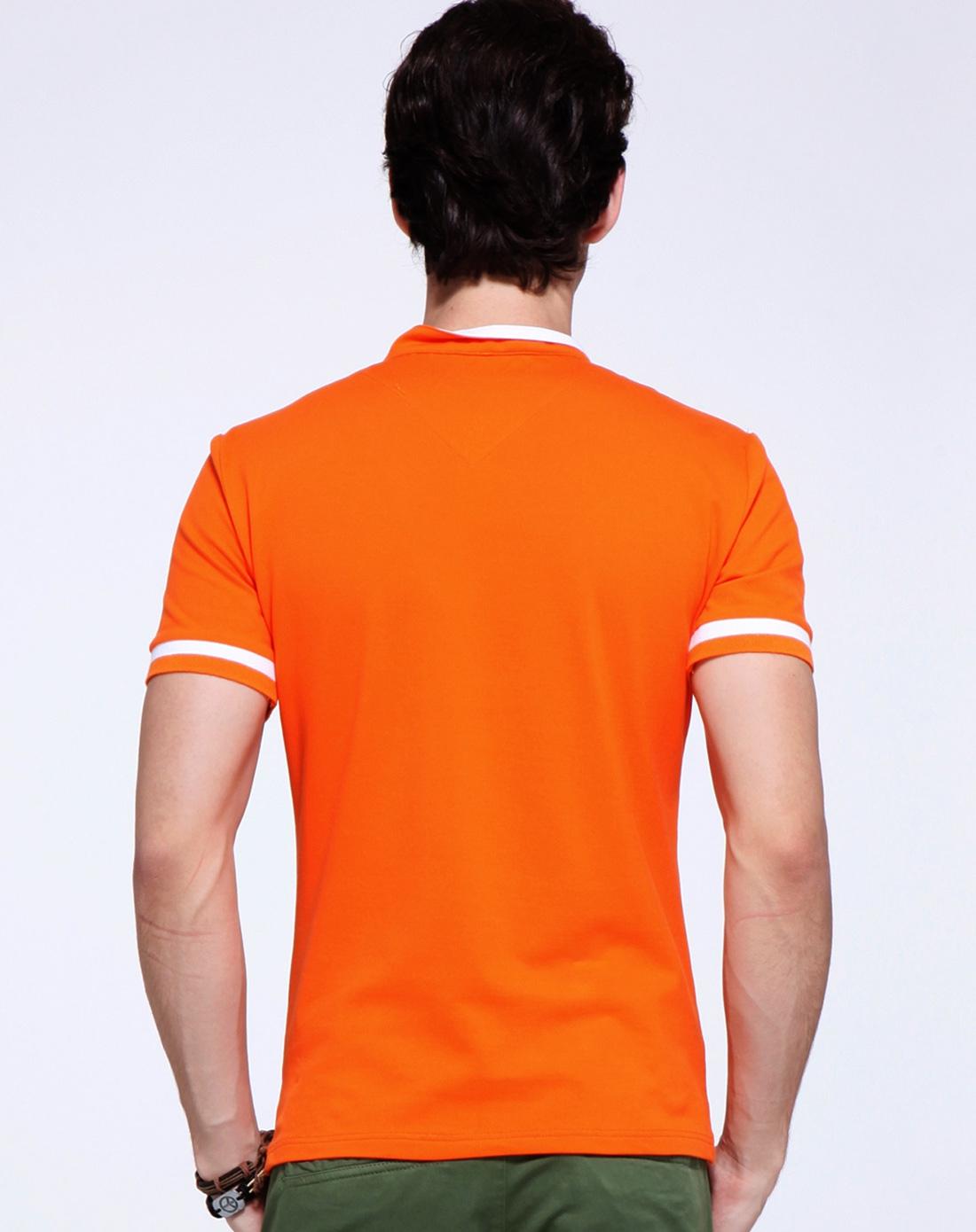 橘色简约百搭短袖polo衫