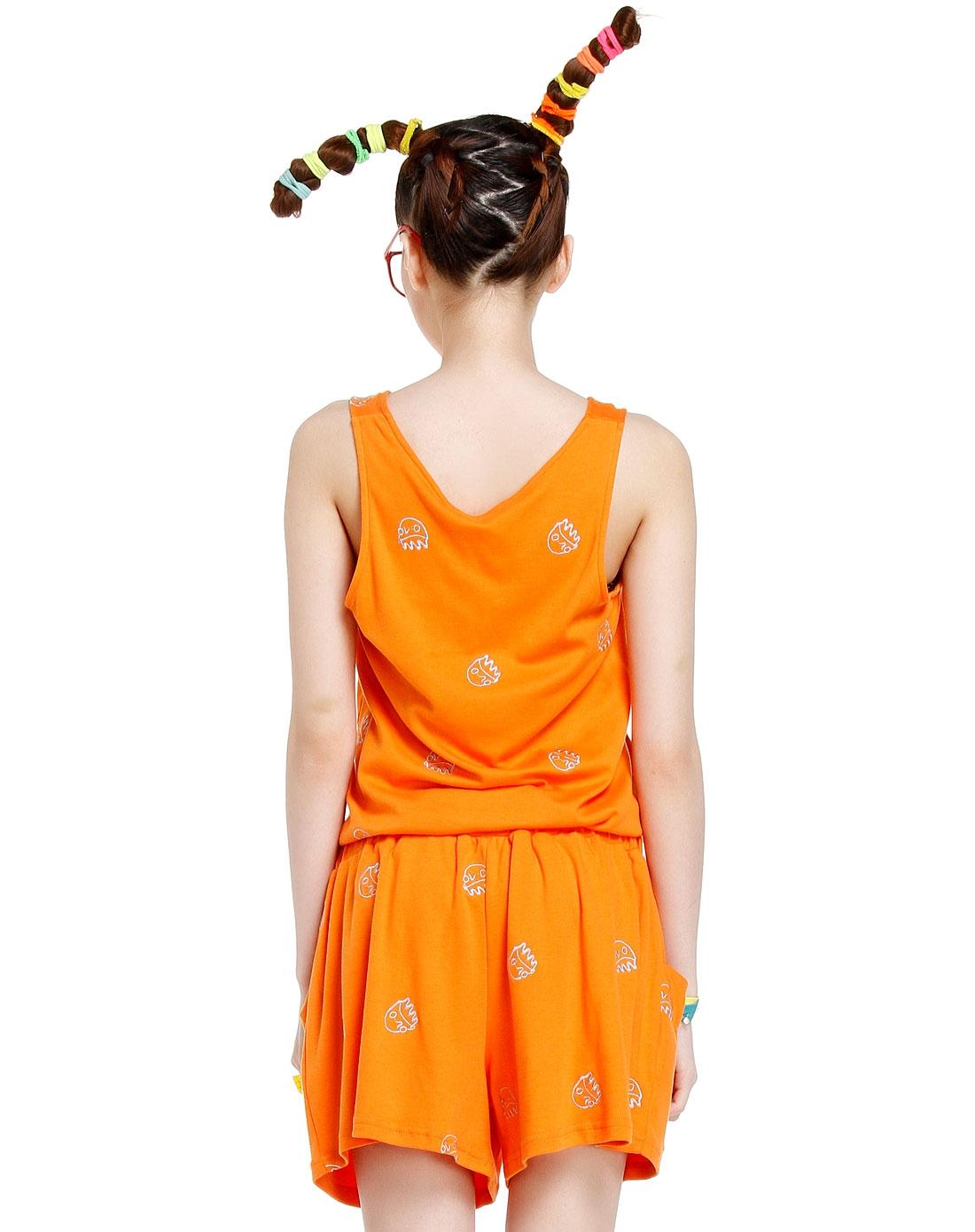 无袖跺(h��ފ9_crz男女装时尚百搭橙色无袖连体裤cdg2qz0329c04_唯品