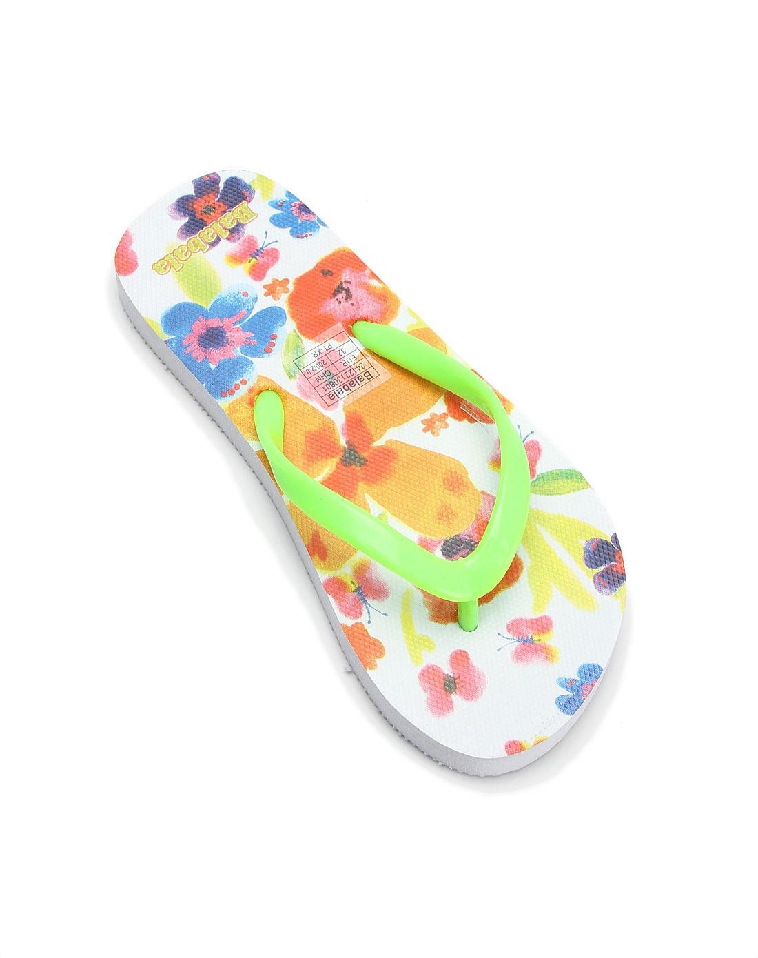 (价格问题)女童夏日清新白底黄绿色印花拖鞋