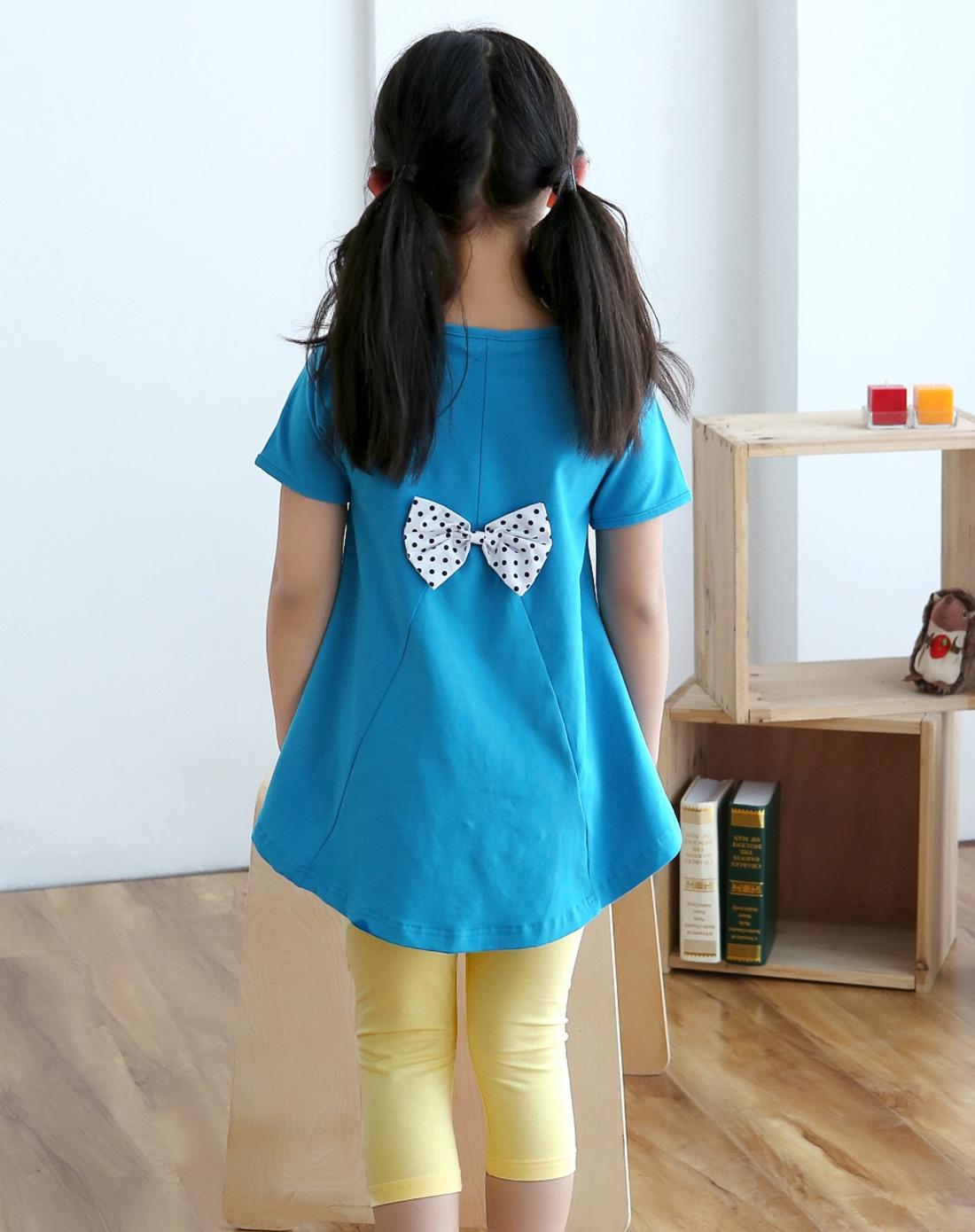 女童蓝色短袖中腰卡通兔子图案套装