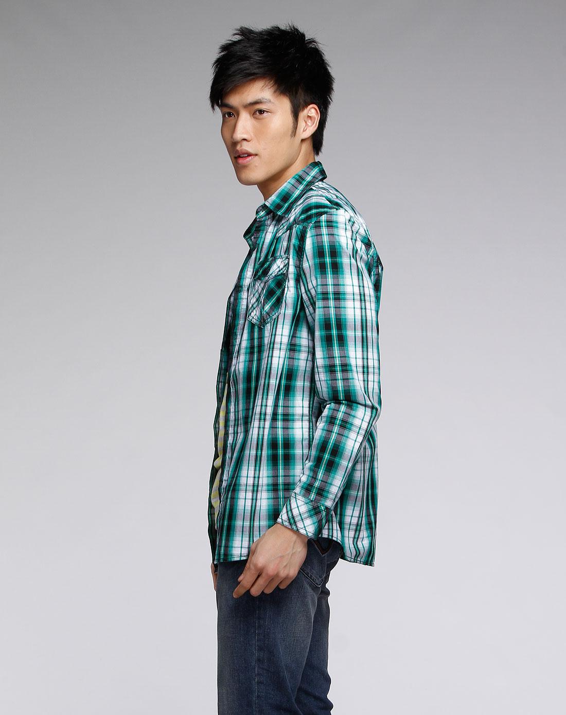 森马男装专场-绿/白色格子休闲长袖衬衫图片