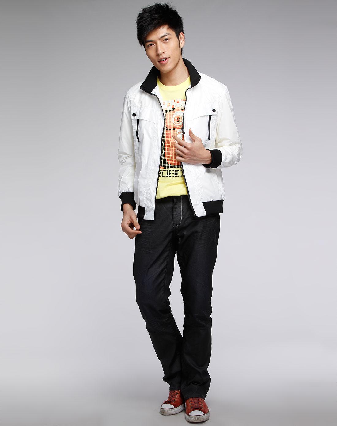 森马男装专场-白色时尚长袖拉链外套图片