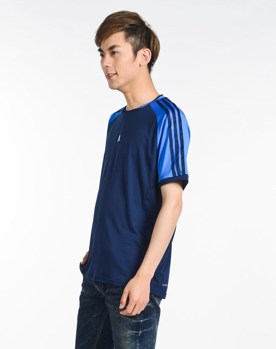 男子黑/蓝色短袖t恤