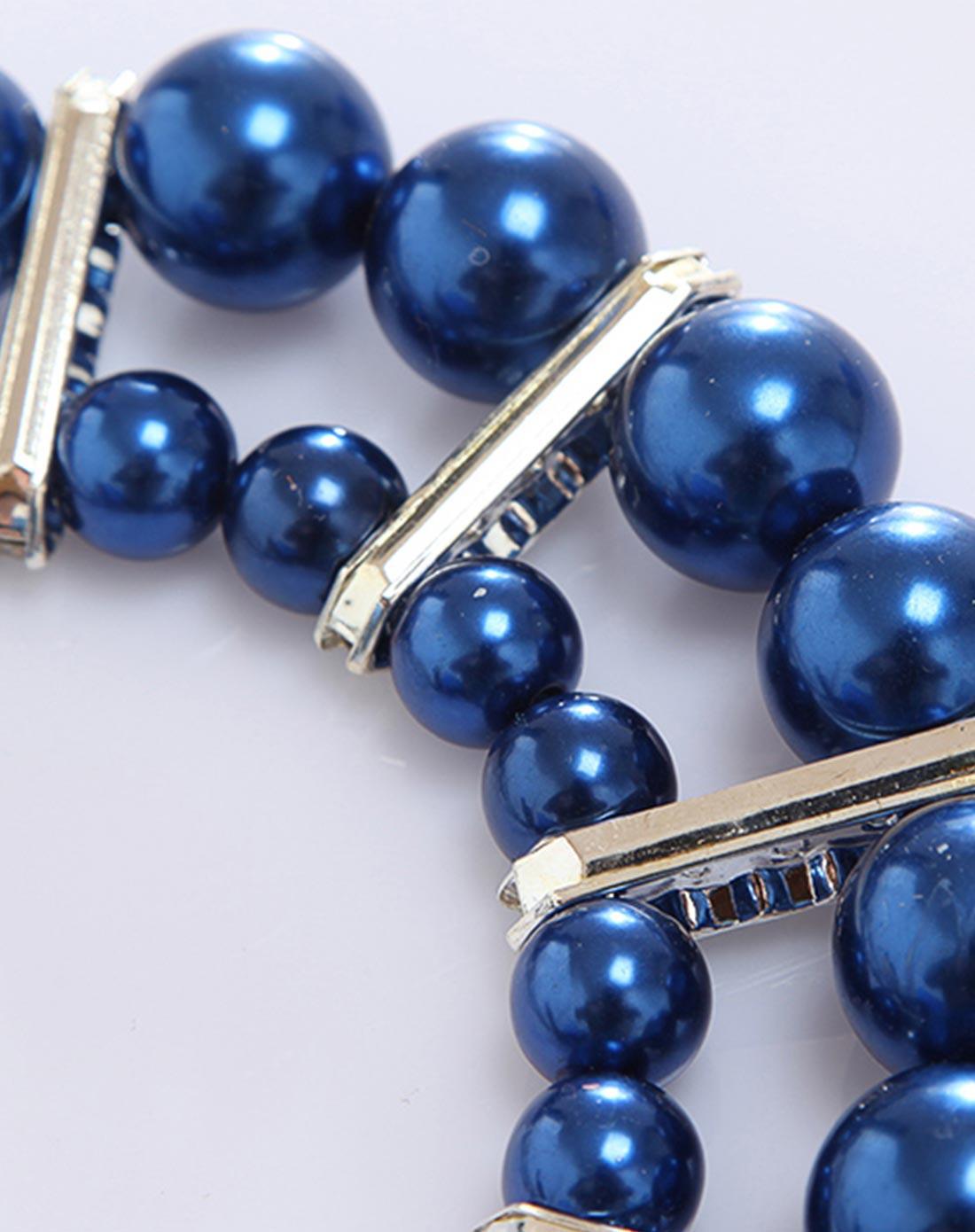 女童深蓝晚宴公主儿童手工串珠项链