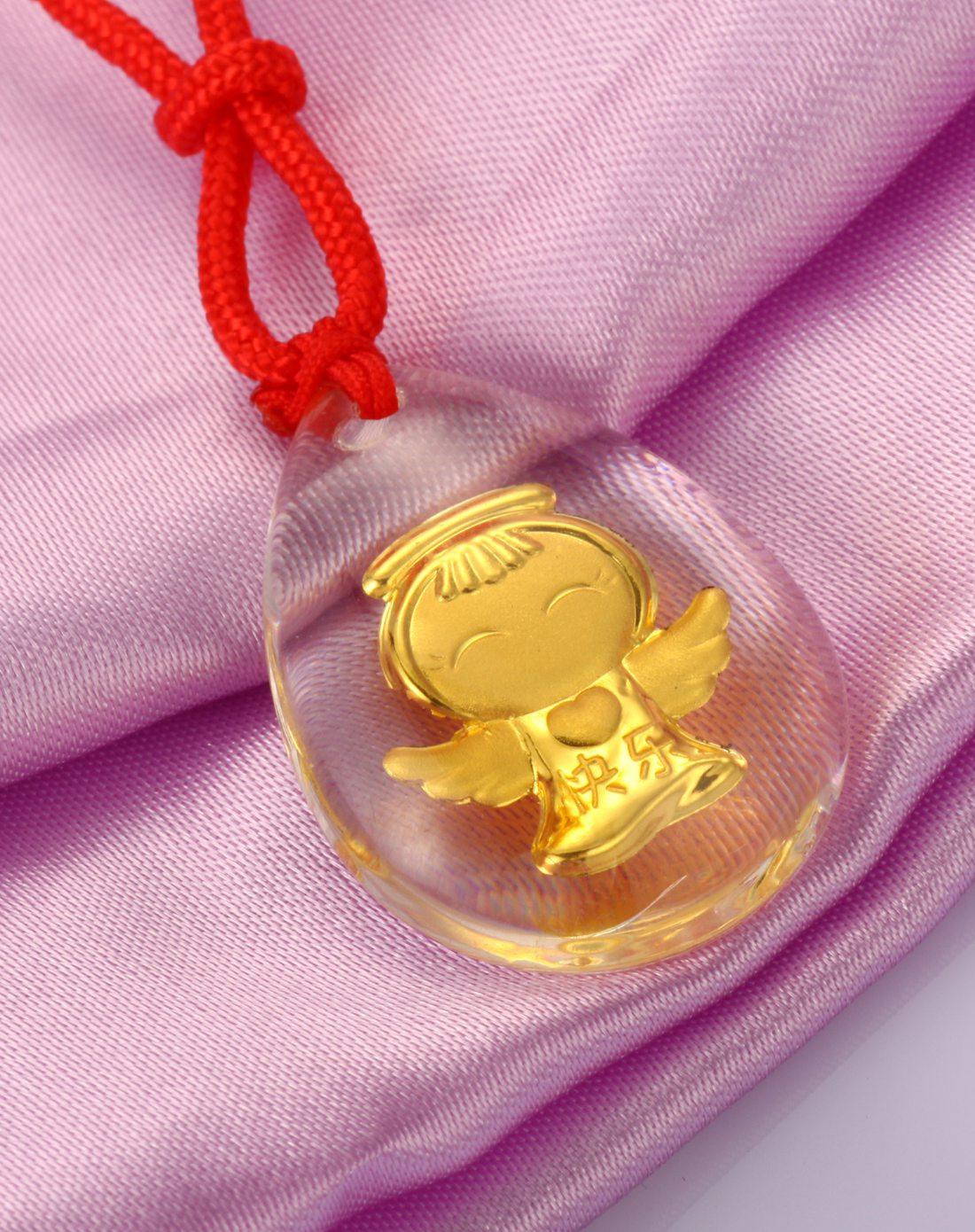 (无定价不上线)千足金镶嵌水晶吊坠 快乐天使宝贝
