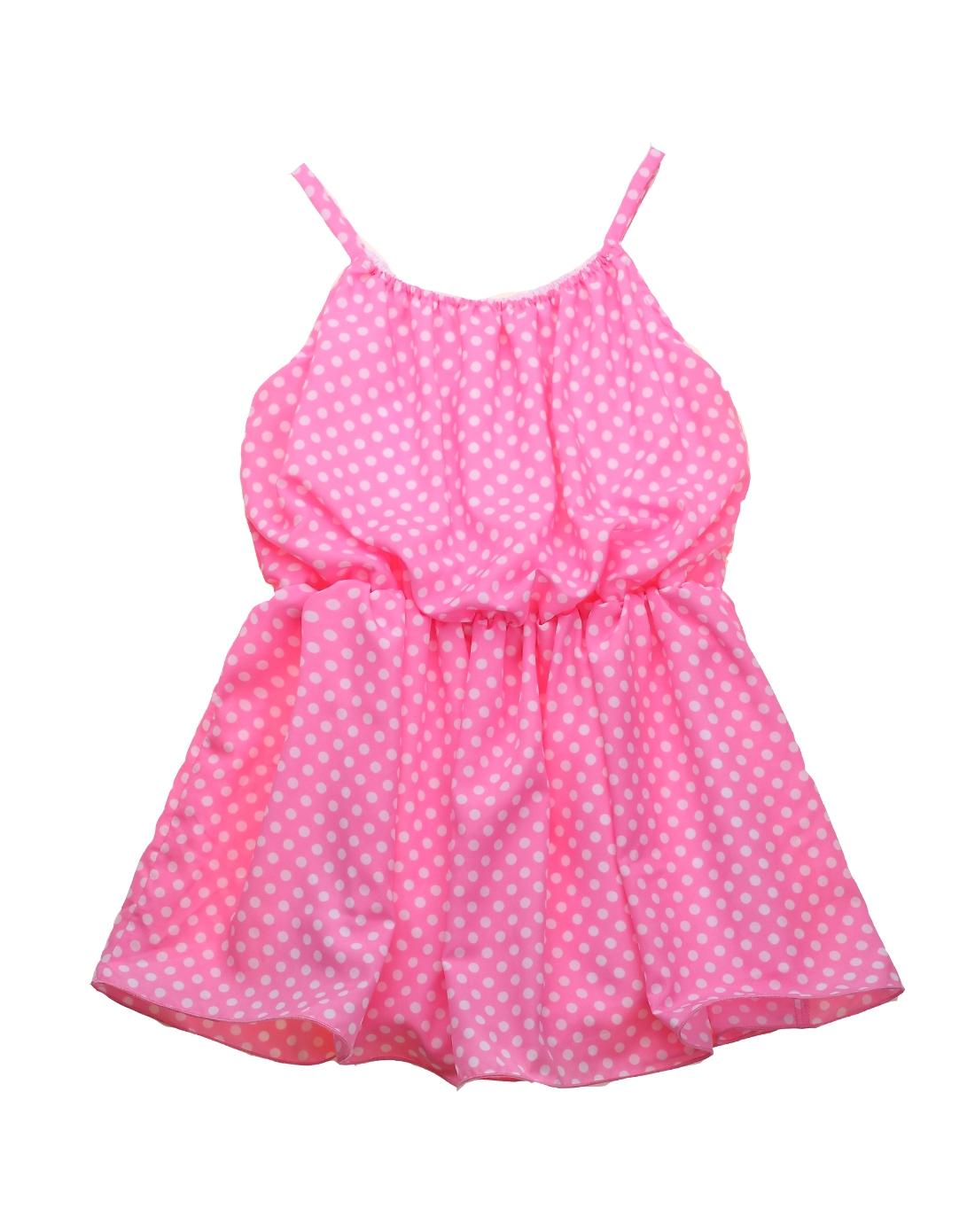 女童粉红色梭织吊带连衣裙