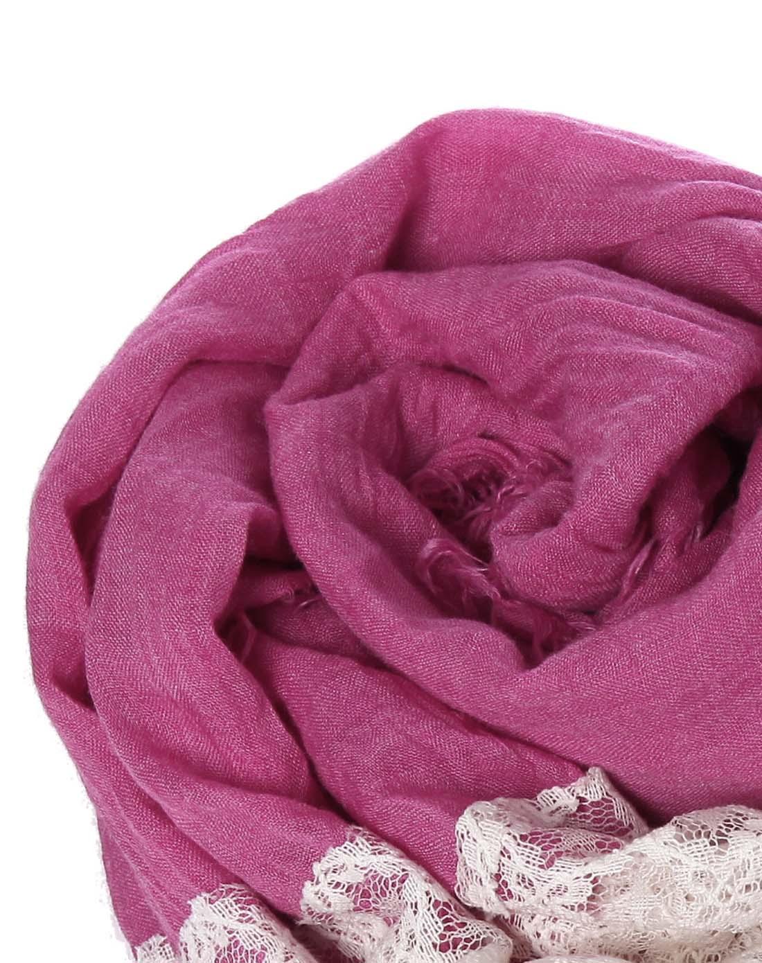玫瑰红色百搭长方形纯色蕾丝围巾