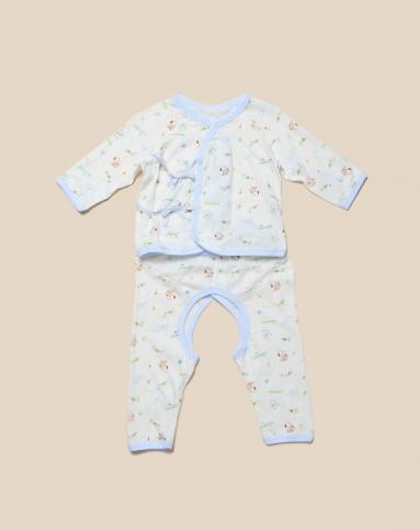 粉蓝baby_史努比snoopy baby中性粉蓝白色长袖六条带肚衣套装2b