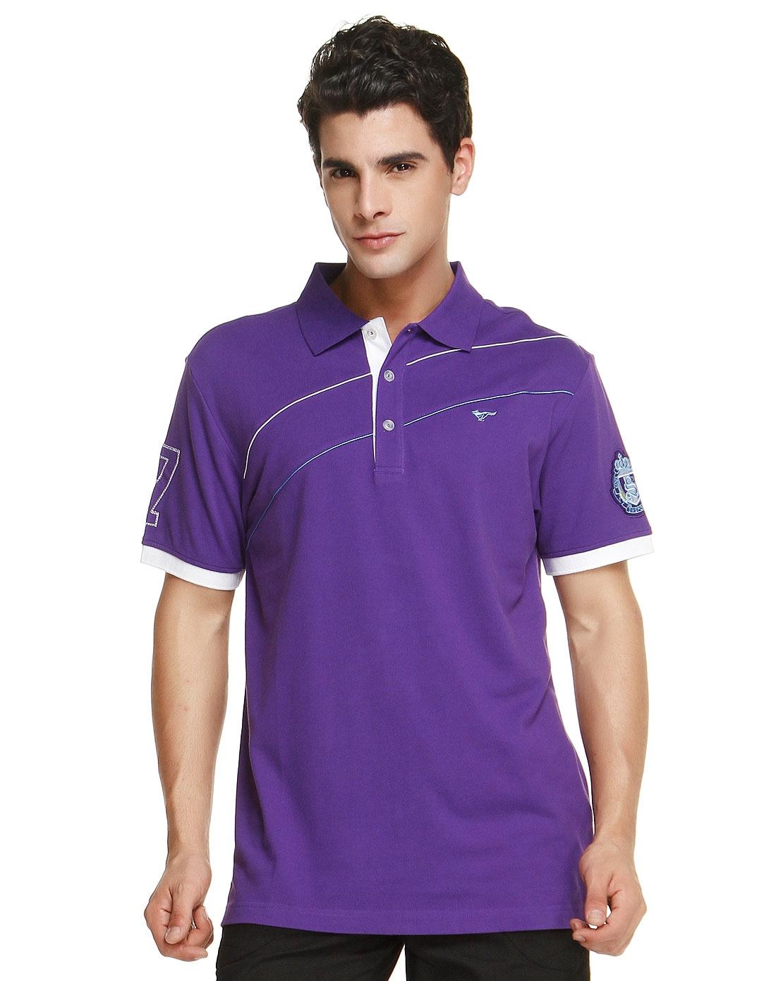 袖口绣勋章紫色短袖polo衫