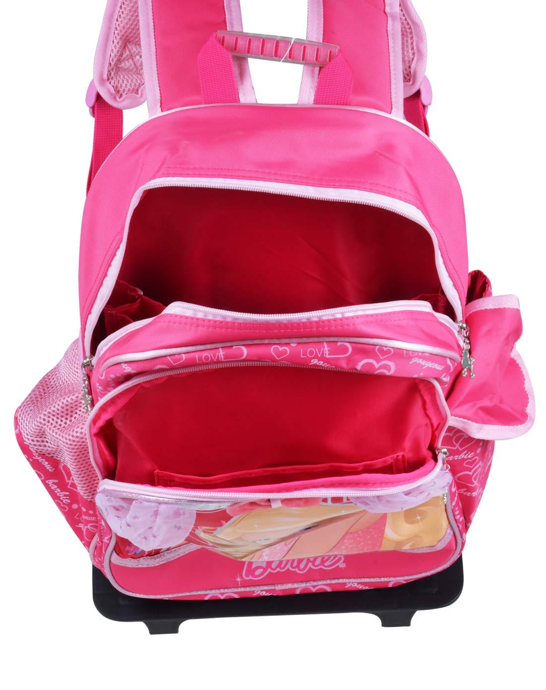 芭比女童玫红色时尚学生大容量拉杆书包