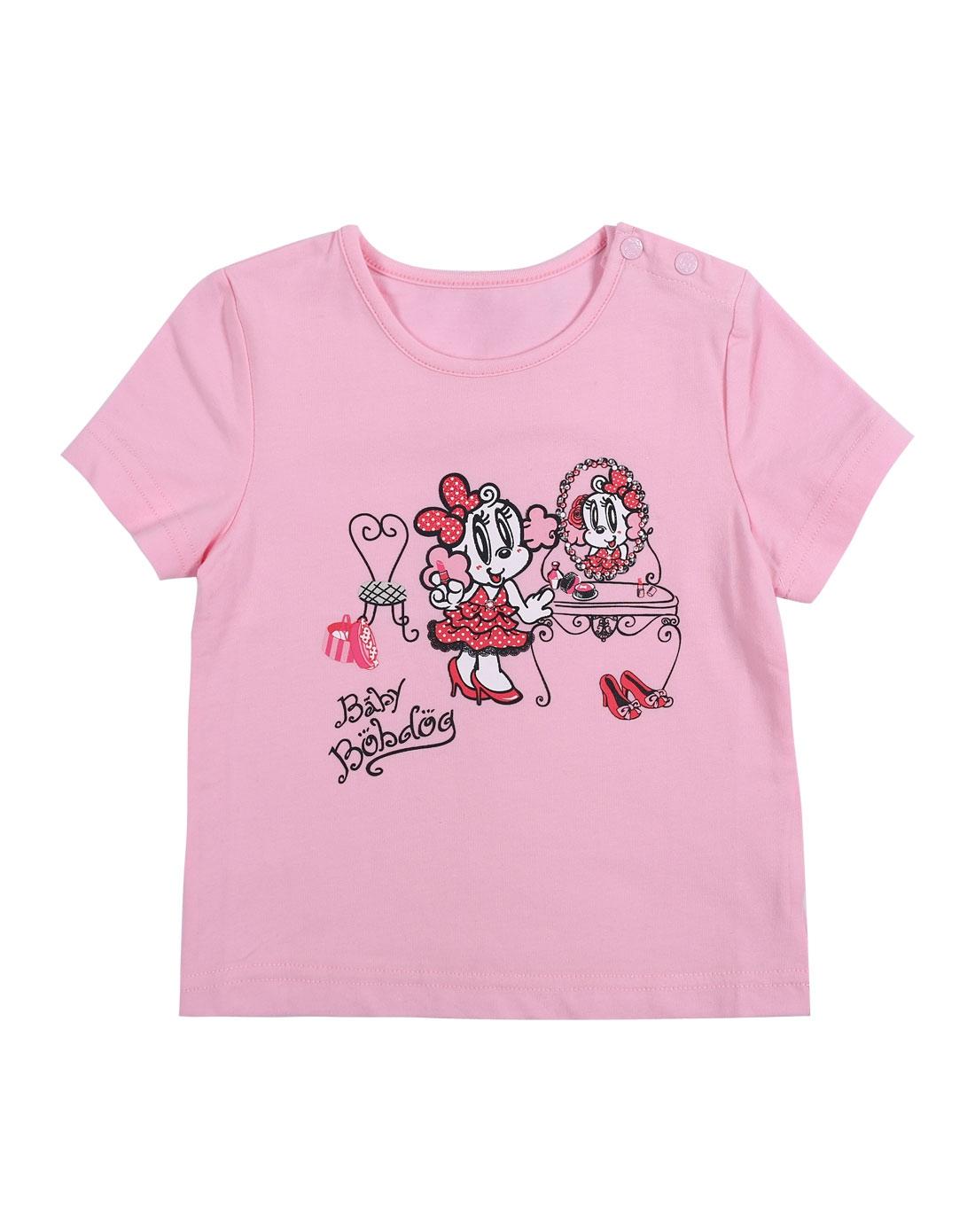 女童浅粉色卡通可爱短袖t恤