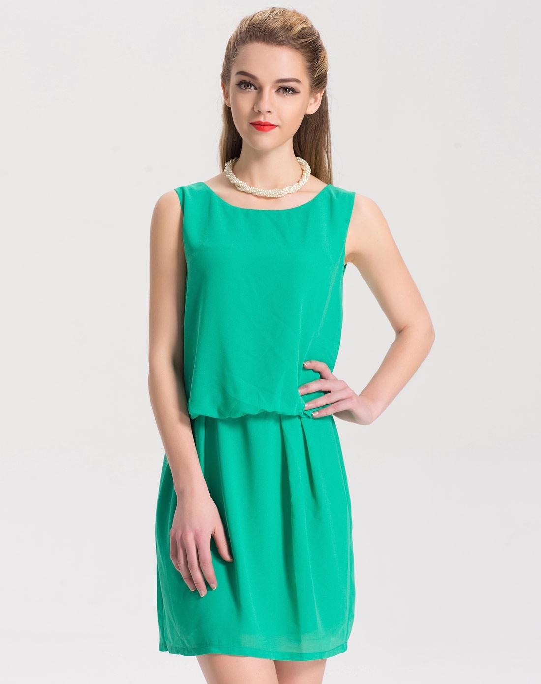 绿色欧美大牌气质雪纺连衣裙