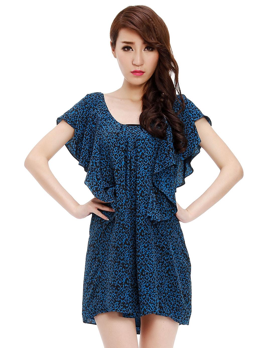 经典黑蓝色豹纹短袖连衣裙