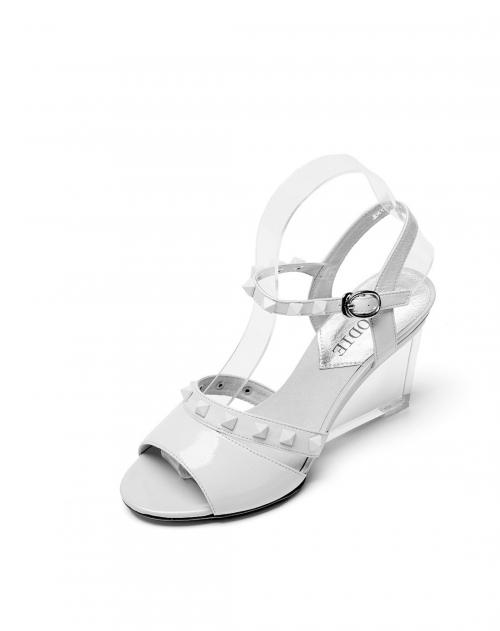 麦露迪 白色透明高跟鱼嘴凉鞋